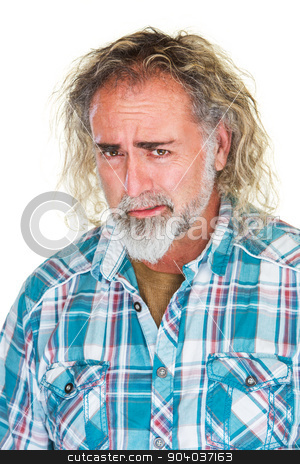 Worried Man with Beard stock photo, Close up of single worried man with beard by Scott Griessel