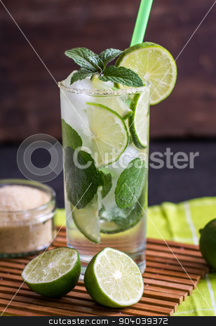 Mojito Drink stock photo, Mojito Lime Drink Cocktail by Karol Czinege