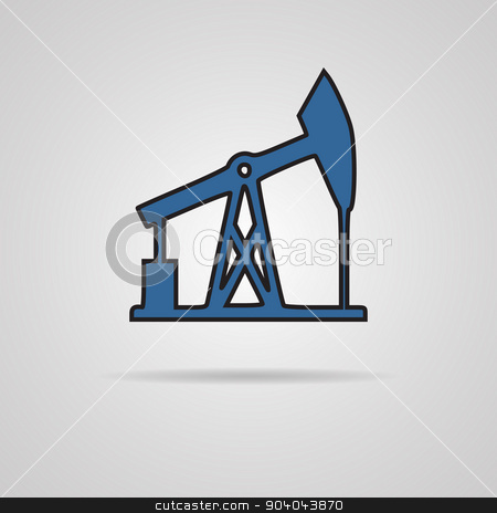 Oil rig vector icon stock vector clipart, Oil rig icon on gray background. EPS10 vector by Liudmila Marykon