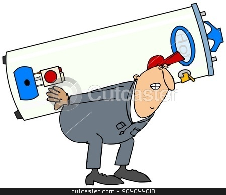 Plumber carrying gas water heater stock photo, This illustration depicts a plumber in coveralls stooped over carrying a gas water heater on his back. by Dennis Cox