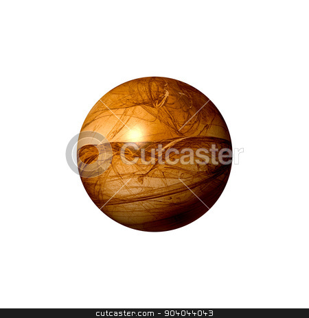 Brown Abstract Globe stock photo, A brown abstract fractal globe on white background. by Henrik Lehnerer