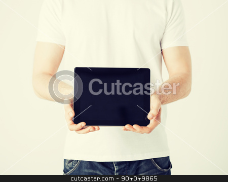 man with tablet pc stock photo, close up of man with tablet pc by Syda Productions