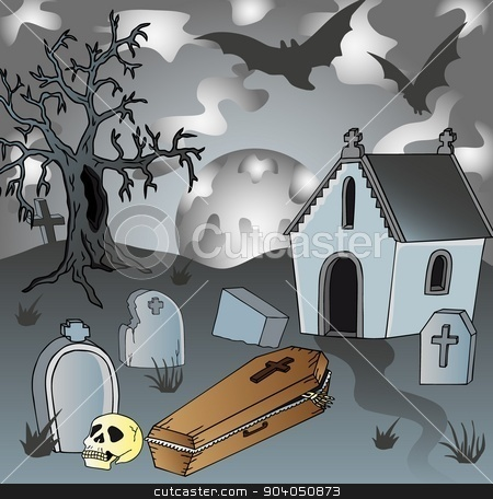 Scenery on cemetery with coffin stock vector clipart, Scenery on cemetery with coffin - vector illustration. by connynka