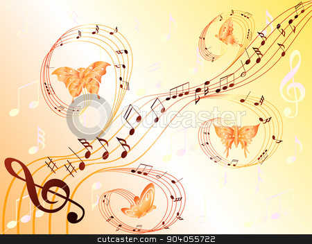 Musical notes on stave and flying butterflies stock vector clipart, Various musical notes on stave and butterflies flying along, hand drawing stylized vector illustration by Nataliia