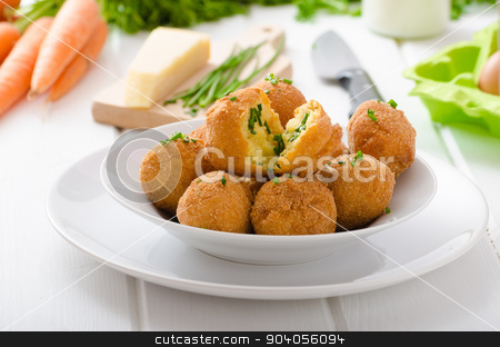 Homemade potato croquettes with parmesan and chives stock photo, Homemade potato croquettes with parmesan and chives, nice and simple, but delicious light food by Peteer