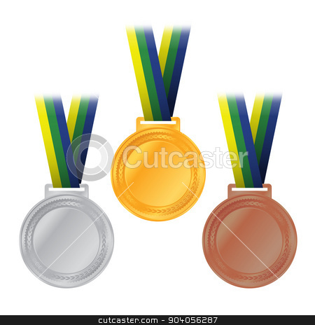 Olympic Medals Gold Silver Bronze Illustration stock vector clipart, An illustration of Olympic gold, silver, and bronze medals and ribbons with Brazil colors. Vector EPS 10 available. EPS file contains transparencies. by Jason Enterline