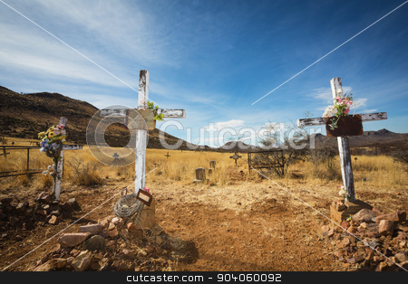 Old Graves with Crucifix stock photo, Trio of wooden crucifix burial sites with blank signs by Scott Griessel
