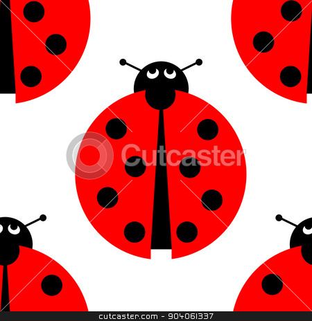 Seamles Ladybug stock photo, Seamless ladybug background on white. by Henrik Lehnerer