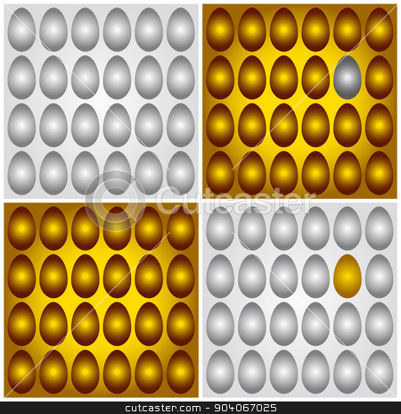 Golden brown and grey silver eggs vector illustration  stock vector clipart, Four vector illustrations of different egg groups: gold on the golden, silver on the silver, and also unique conceptual pictures of one golden among many grayish and one gray among many golden by Volodymyr