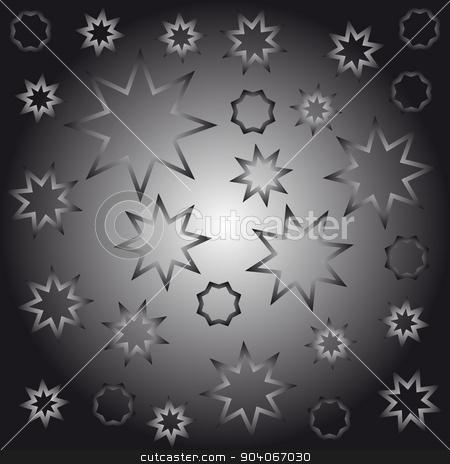 Abstract octagonal stars stock vector clipart, Abstract octagonal stars black and white vector illustration by Volodymyr