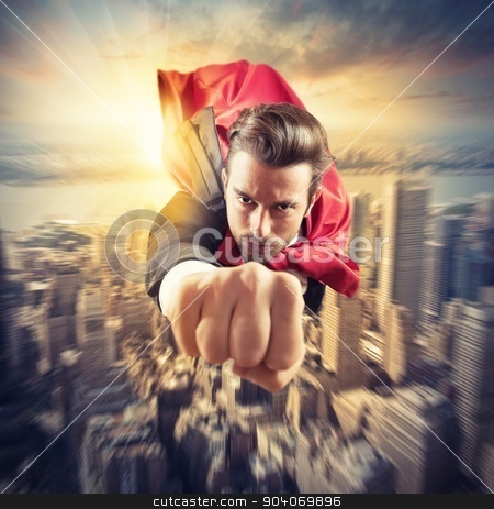 Superhero flies faster stock photo, Businessman superhero flies faster in the sky by Federico Caputo