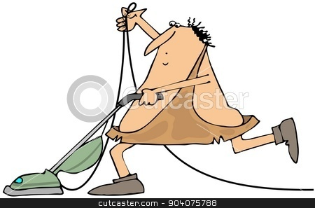 Caveman with a vacuum cleaner stock photo, This illustration depicts a caveman using a vacuum cleaner. by Dennis Cox