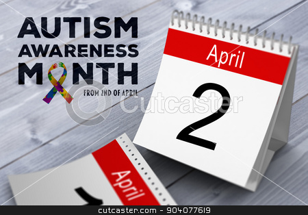 Composite image of autism awareness month stock photo, autism awareness month against bleached wooden planks background by Wavebreak Media