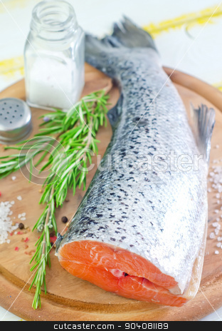 salmon stock photo, raw salmon by tycoon