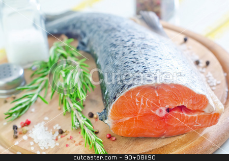 salmon stock photo, raw salmon by tycoon
