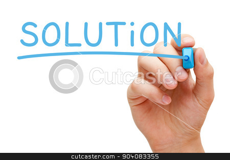 Solution Blue Marker stock photo, Hand writing Solution with blue marker on transparent wipe board. by Ivelin Radkov