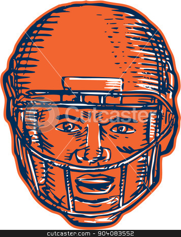 American Football Player Head Etching stock vector clipart, Etching engraving handmade style illustration of an american football player head with helmet facing front set on isolated white background.  by patrimonio
