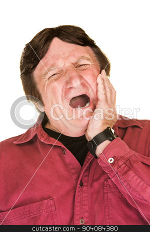 Yawning Mature Man stock photo, Yawning single man in red over white background by Scott Griessel