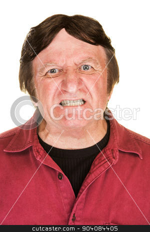 Outraged Man in Red stock photo, Extremely angry man in red with clenched teeth by Scott Griessel