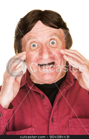 Excited Man Shouting stock photo, One isolated excited middle aged man shouting by Scott Griessel