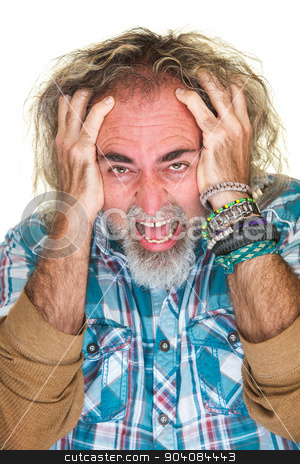 Angry Guy Pulling Hair stock photo, Furious isolated man pulling his hair hair by Scott Griessel