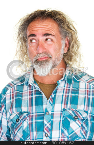 Doubtful Man Making a Choice stock photo, Doubtful mature man trying to make a decision by Scott Griessel