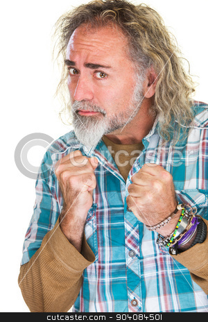 Ambitious Man with Clenched Fists stock photo, Ambitious bearded man with long hair and clenched fists by Scott Griessel