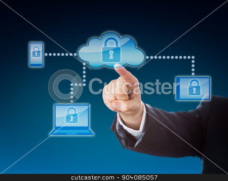 Cloud Computing Security Metaphor In Blue stock photo, Cloud computing security business metaphor in blue colors. Corporate arm reaching out to a lock symbol inside a cloud icon. The padlock repeats on cellphone, tablet PC and laptop within the network. by Leo Wolfert