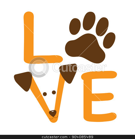 Love Dog stock vector clipart, A graphic of the word love showing a dog paw and a dog's face by Maria Bell