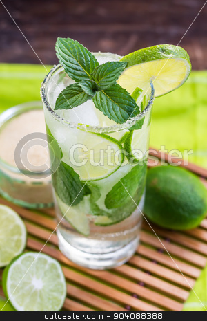 Mojito Drink stock photo, Mojito Lime Alcoholic Drink Cocktail by Karol Czinege