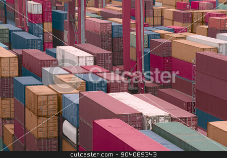 Cargo freight Shipyard  stock photo, Containers in a Cargo freight Shipyard  by dani3315