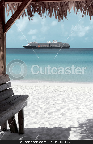 Caribbean sand beach stock photo, Caribbean sand beach with cruise ship at the background in Half Moon Cay, Bahamas by dani3315