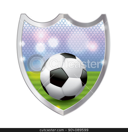 Soccer Emblem Illustration stock vector clipart, An illustration of a football - American soccer ball sitting on a turf field inside an emblem. Vector EPS 10 available. EPS file is layered and contains transparencies and gradient mesh. by Jason Enterline