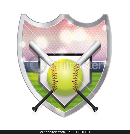 Softball Emblem Illustration stock vector clipart, An illustration of an softball, bats, home plate and field inside an emblem. Vector EPS 10 available. EPS file is layered and contains transparencies and gradient mesh. by Jason Enterline