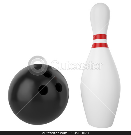 Pin and bowling ball isolated on white background. stock photo, Pin and bowling ball isolated on white background. 3d illustration high resolution by ZARost