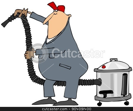 Worker using a shop vacuum stock photo, This illustration depicts a man in coveralls using a large shop vacuum. by Dennis Cox