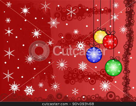 Christmas is Comming stock vector clipart, Festive Christmas Scene, with snowflakes snow and baulballs.  by Andrew Brown