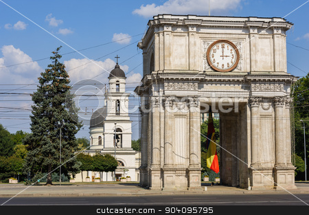Triumphal Arch in Chisinau, Moldova stock photo, Triumphal Arch at Great National Assembly Square, Chisinau, Moldova by Serghei Starus