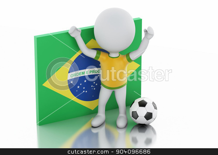 3d white people with Brazil flag and soccer ball. stock photo, 3d illustration. White people with brazil flag and soccer ball. Isolated white background by nicolas menijes
