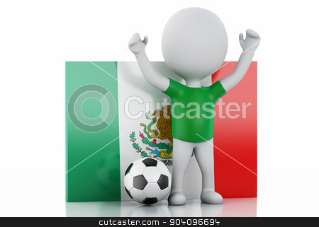 3d white people with Mexico flag and soccer ball. stock photo, 3d illustration. White people with Mexico flag and soccer ball. Isolated white background by nicolas menijes