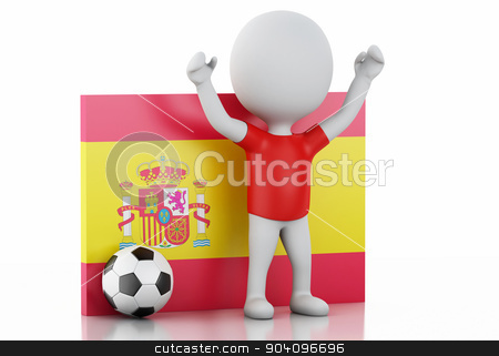 3d white people with Spain flag and soccer ball. stock photo, 3d illustration. White people with Spain flag and soccer ball. Isolated white background by nicolas menijes