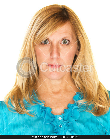 Calm Woman Close Up stock photo, Isolated calm middle aged female adult staring by Scott Griessel