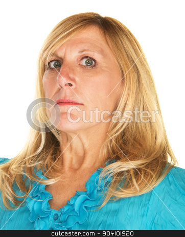 Scolding Woman stock photo, Strict blond Caucasian female looking down her nose by Scott Griessel