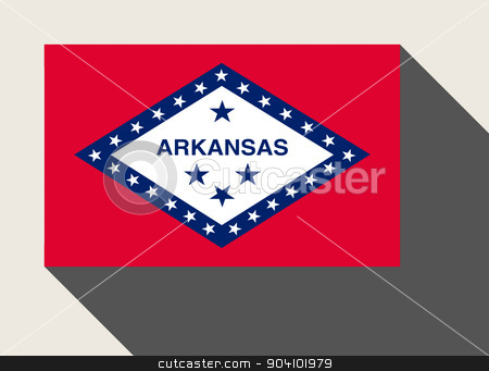 American State of Arkansas flag stock photo, American State of Arkansas flag in flat web design style. by Martin Crowdy