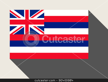 American State of Hawaii flag stock photo, American State of Hawaii flag in flat web design style. by Martin Crowdy