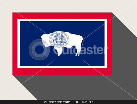 American State of Wyoming flag stock photo, American State of Wyoming flag in flat web design style. by Martin Crowdy