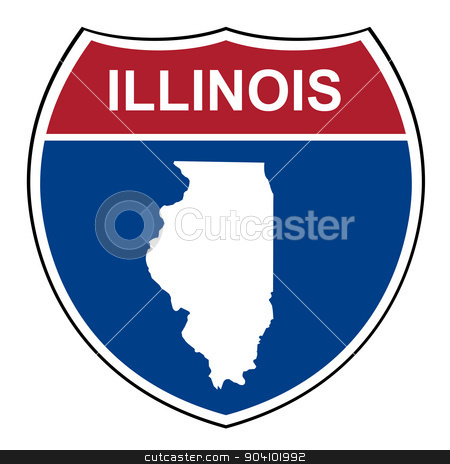 Illinois interstate highway shield stock photo, Illinois American interstate highway road shield isolated on a white background. by Martin Crowdy