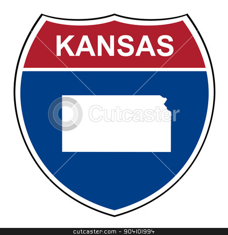 Kansas interstate highway shield stock photo, Kansas American interstate highway road shield isolated on a white background. by Martin Crowdy