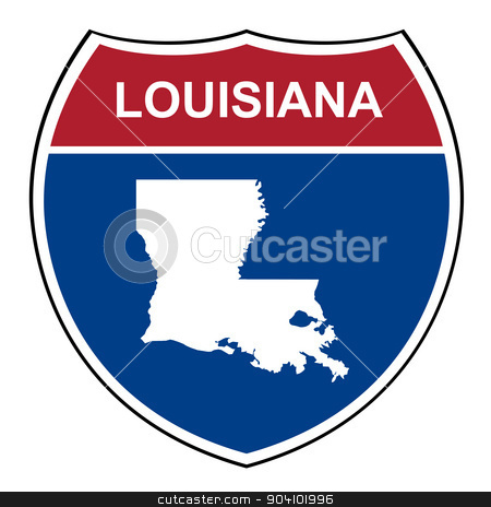 Louisiana interstate highway shield stock photo, Louisiana American interstate highway road shield isolated on a white background. by Martin Crowdy