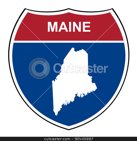 Maine interstate highway shield stock photo, Maine American interstate highway road shield isolated on a white background. by Martin Crowdy